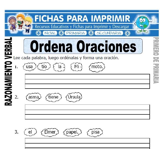 ordena oraciones para primero de primaria