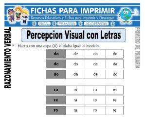 Percepción Visual con Letras – Primero de Primaria