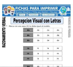 percepcion visual con letras para primero de primaria