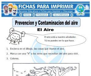 Ficha de Prevención y Contaminacion del Aire para Primaria