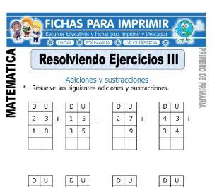 resolviendo ejercicios adiciones y sustracciones para primero de primaria