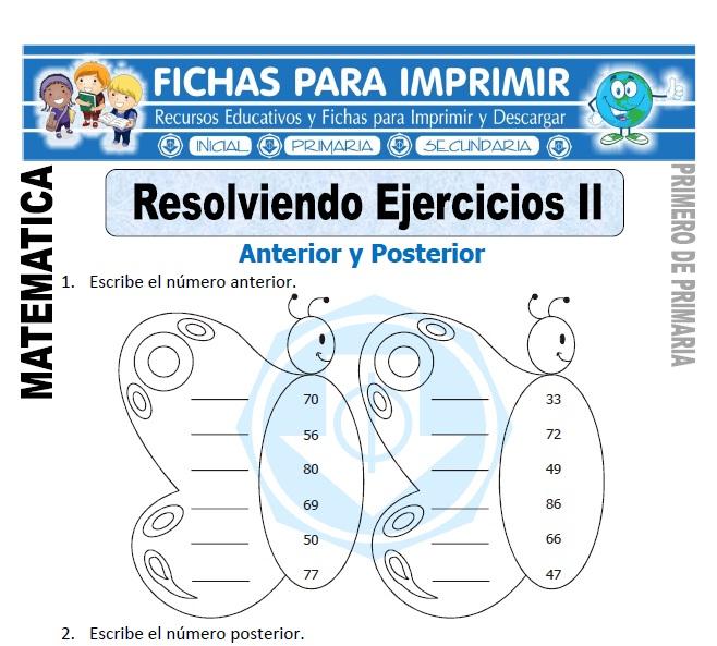 resolviendo ejercicios anterior y posterior para primero de primaria