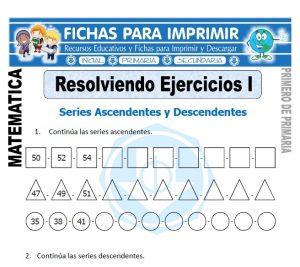 ejercicios series ascendentes y descendentes para primero de primaria