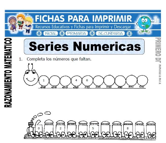 series numericas para primero de primaria