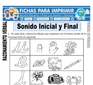 sonido inicial y final para primero de primaria