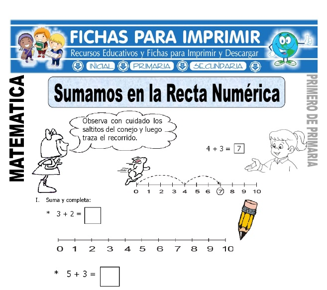 sumamos en la recta numerica para primero de primaria