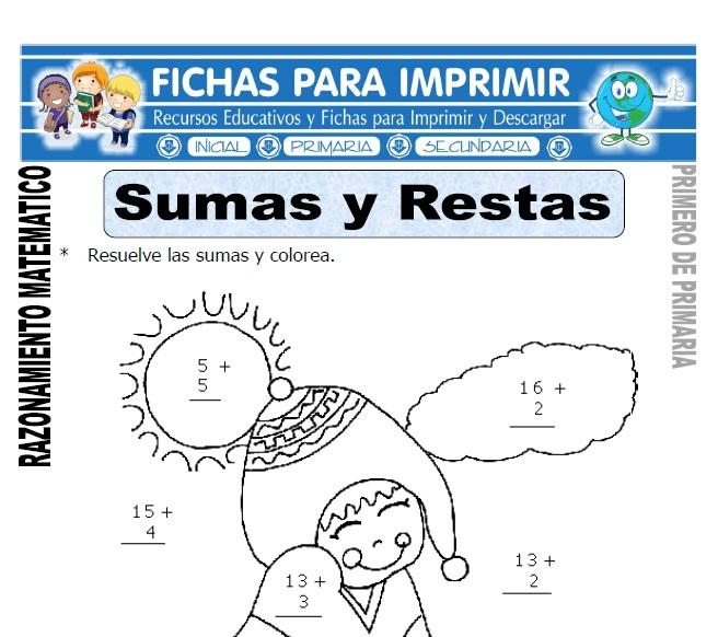 sumas y restas para primero de primaria