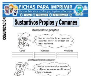 Ficha de Sustantivos Propios y Comunes para Primaria
