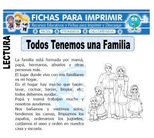 todos tenemos una familia para primaria