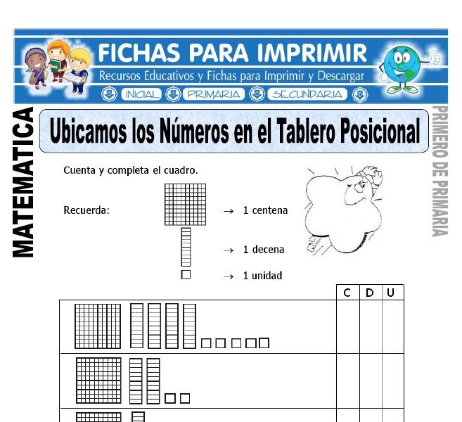 Numeros en el tablero posicional para primero de primaria