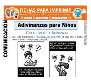 Ficha de Adivinanzas para Niños Segundo de Primaria