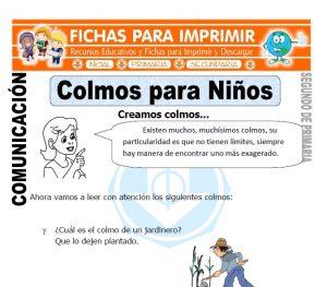 Ficha de Colmos para Niños Segundo de Primaria