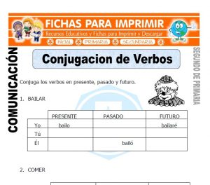Ficha de Conjugacion de Verbos Segundo de Primaria