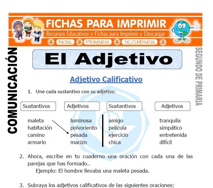 Ficha De El Adjetivo Segundo De Primaria Fichas Para Imprimir