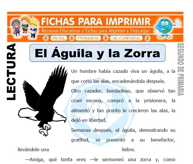 Ficha de El Aguila y la Zorra Segundo de Primaria