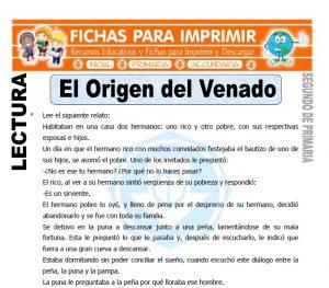 Ficha de El Origen del Venado Segundo de Primaria