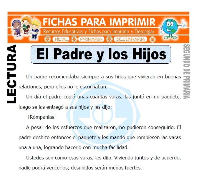 Ficha de El Padre y los Hijos Segundo de Primaria