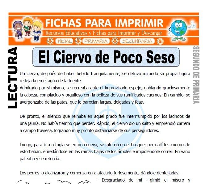Ficha de El Siervo de Poco Seso Segundo de Primaria