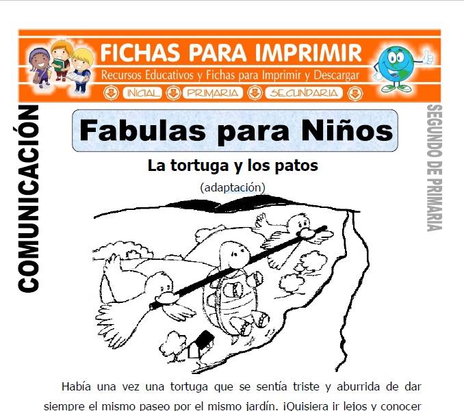 Ficha de Fabulas para Niños Segundo de Primaria