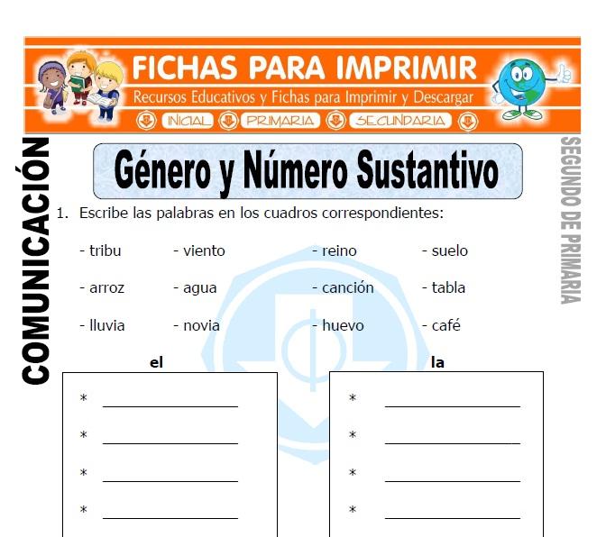 Ficha de Genero y Numero del Sustantivo Segundo de Primaria
