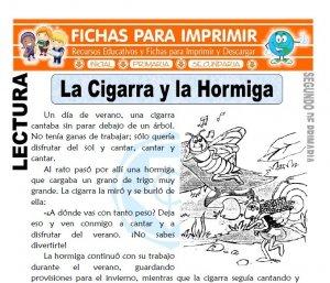 Ficha de La Cigarra y la Hormiga Segundo de Primaria