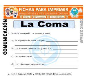 Ficha de La Coma Segundo de Primaria