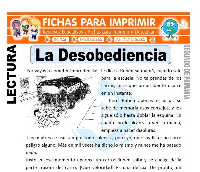 Ficha de La Desobediencia Segundo de Primaria