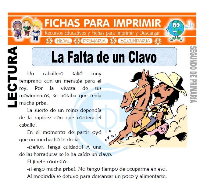 Ficha de La Falta de un Clavo Segundo de Primaria