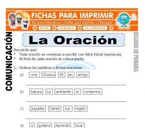 Ficha de La Oracion Segundo de Primaria