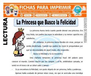 La Princesa que Busco la Felicidad para Segundo de Primaria