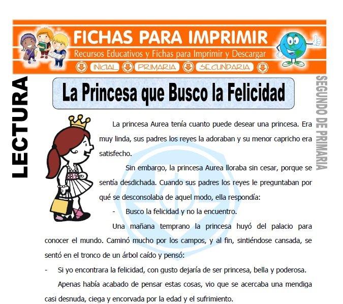 Ficha de La Princesa que Busco la Felicidad Segundo de Primaria