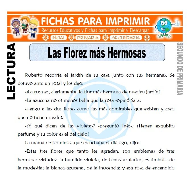 Ficha de Las Florez mas Hermosas Segundo de Primaria
