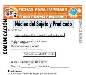 Ficha de Nucleo del Sujeto y Predicado Segundo de Primaria