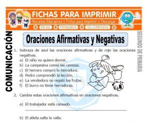 Oraciones Afirmativas y Negativas para Segundo de Primaria