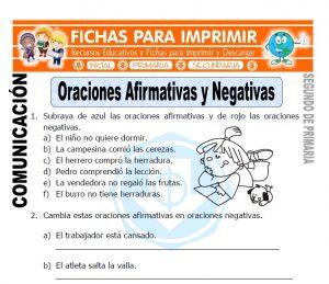 Ficha de Oraciones Afirmativas y Negativas-Segundo-de-Primaria