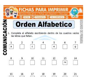 Ficha de Orden Alfabetico Segundo de Primaria