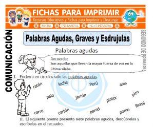 Palabras Agudas, Graves y Esdrujulaspara Segundo de Primaria