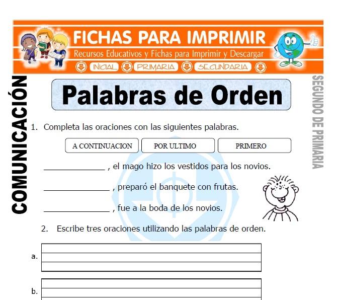 Ficha de Palabras de Orden Segundo de Primaria