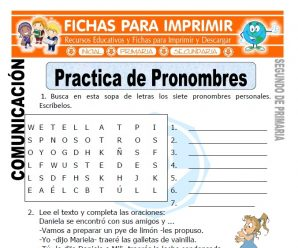 Practica de Pronombres para Segundo de Primaria