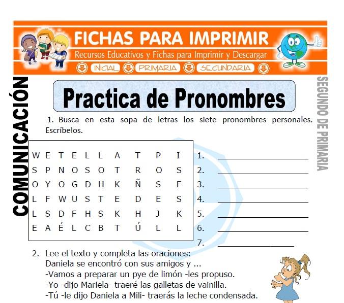 Ficha de Practica de Pronombres Segundo de Primaria