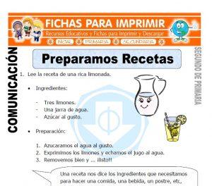 Ficha de Preparamos Recetas Segundo de Primaria