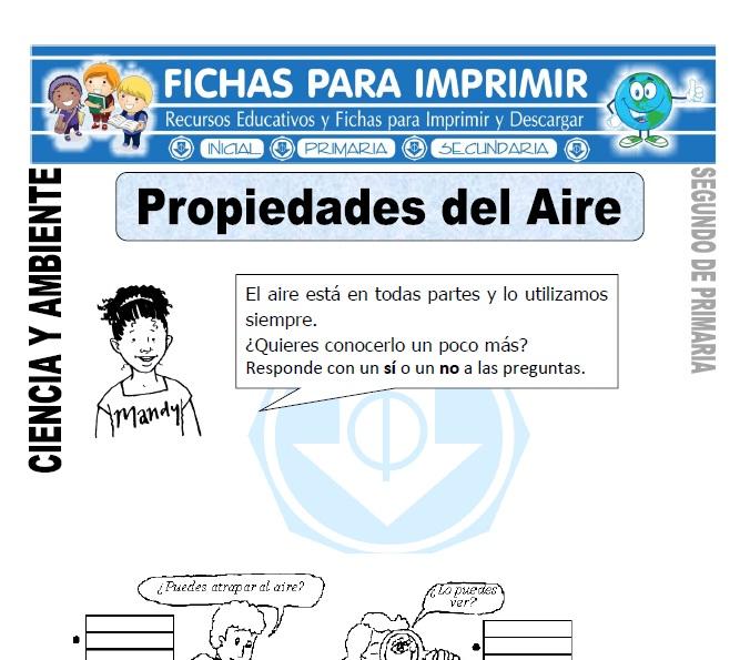 Ficha de Propiedades del Aire Segundo de Primaria