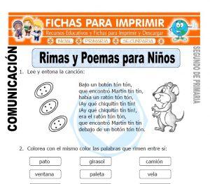 Ficha de Rimas y Poemas para Niños Segundo de Primaria