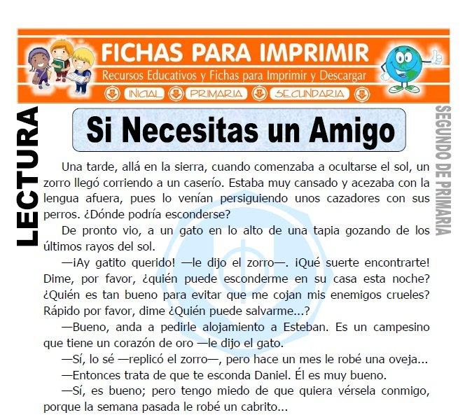 Ficha de Si Necesitas un Amigo Segundo de Primaria