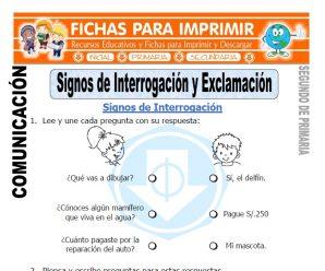 Signos de Interrogación y Exclamación Segundo de Primaria