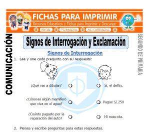 Ficha de Signos de Interrogacion y Exclamacion Segundo de Primaria