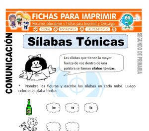 Ficha de Silabas Tonicas Segundo de Primaria