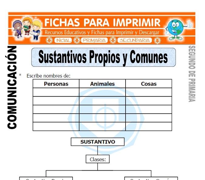 Ficha de Sustantivos Propios y Comunes Segundo de Primaria