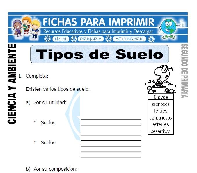 Tipos de suelo para segundo de primaria fichas para imprimir for 5 cuidados del suelo
