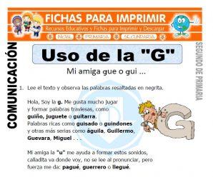 Uso de la G para Segundo de Primaria